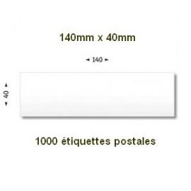 Boite de 1000 étiquettes postales 140 x 40 blanches