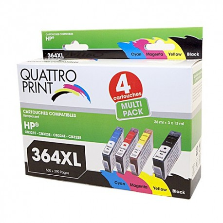 Pack Quattro Print HP364XL 4 cartouches compatibles