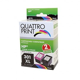 Pack Quattro Print HP301XL 2 cartouches compatibles