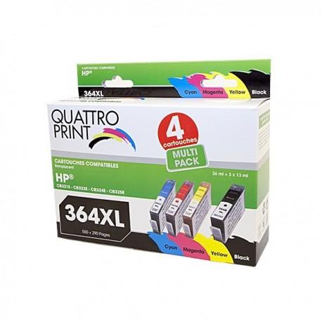 Pack 4 cartouches type HP HP364XL Quattro Print
