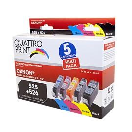 Pack 5 cartouches pour imprimante Canon équivalent PGI-525+CLI-526